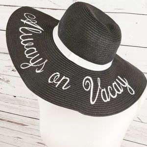 Always on Vacay black floppy hat